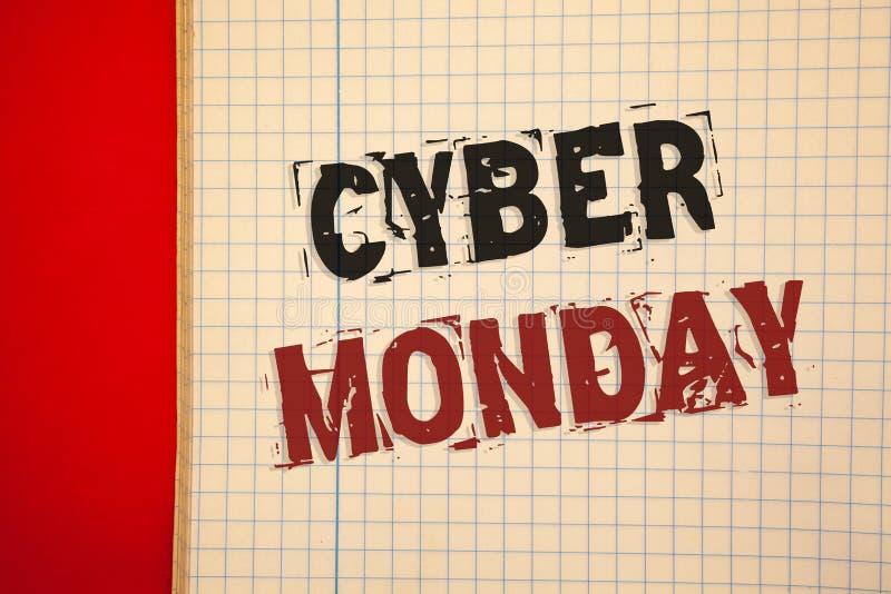 Testo lunedì cyber di scrittura di parola Concetto di affari per le vendite speciali dopo il commercio elettronico online di acqu fotografie stock