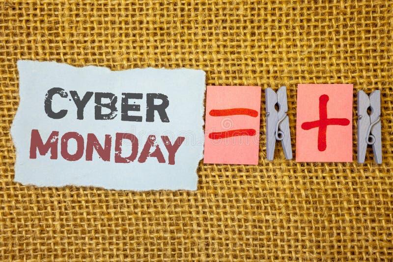 Testo lunedì cyber di scrittura di parola Concetto di affari per le vendite speciali dopo il commercio elettronico online di acqu immagine stock libera da diritti