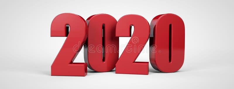 2020 testo metallico rosso 3d del nuovo anno 3d rendere illustrazione vettoriale