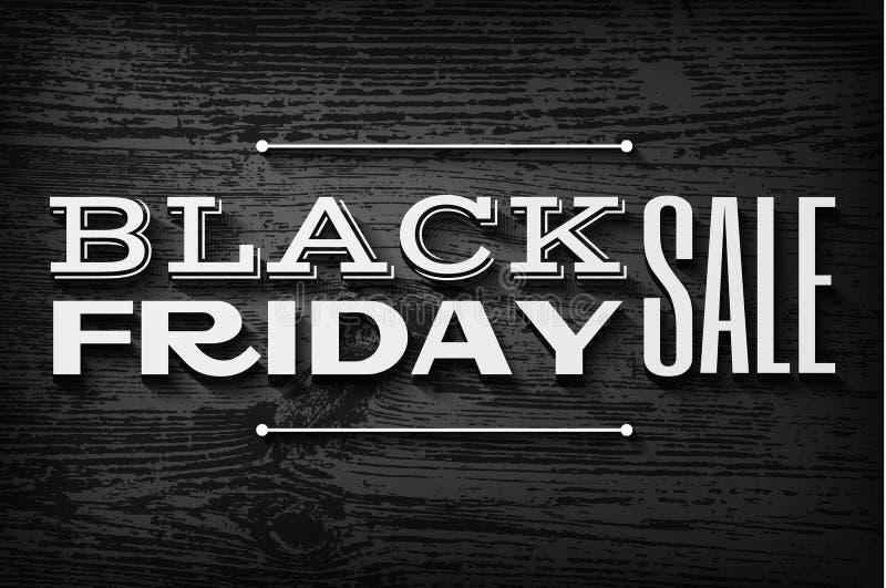 Testo nero di venerdì sul fondo di legno di vettore illustrazione di stock