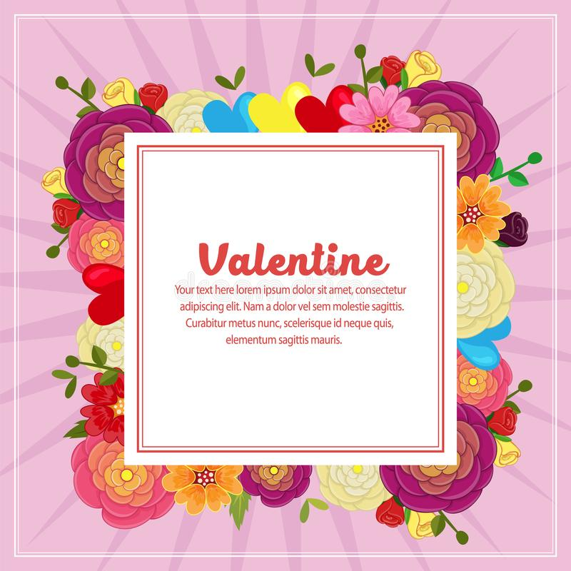 Testo quadrato della decorazione sveglia del biglietto di S. Valentino con il fiore del ranuncolo illustrazione di stock