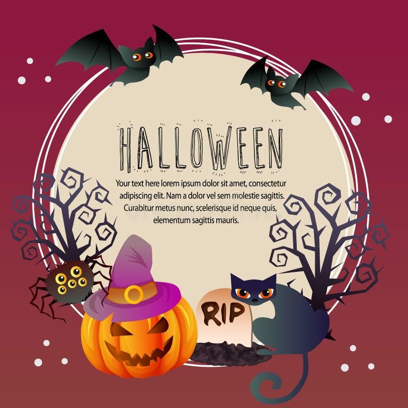 Testo rotondo del pipistrello del ragno del withpumpkin della carta di Halloween illustrazione vettoriale