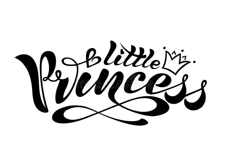 Testo scritto a mano, calligrafia, segnante nel formato di vettore, una piccola principessa con una corona per una cartolina, un  illustrazione di stock