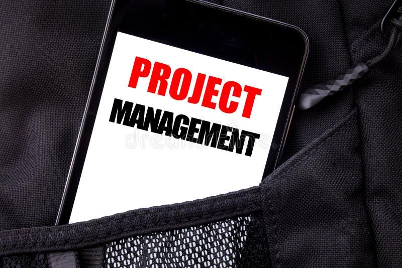 Testo scritto a mano che mostra la gestione di progetti La scrittura di concetto di affari per gli scopi di piano di strategia sc fotografia stock libera da diritti