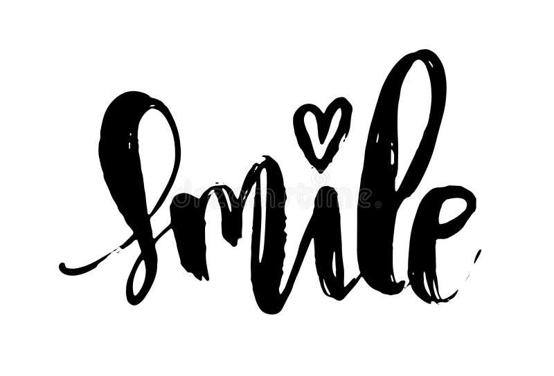 Testo scritto a mano dell'iscrizione della spazzola di sorriso Calligrafia moderna isolata su fondo bianco illustrazione di stock