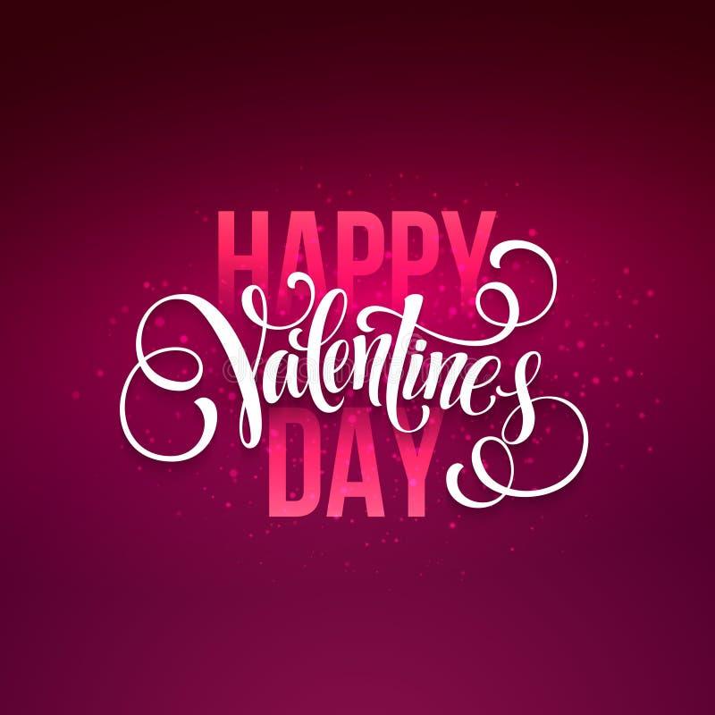 Testo scritto a mano felice di giorno di biglietti di S. Valentino sull'vago su illustrazione vettoriale