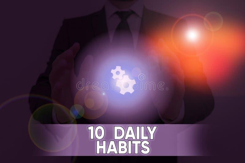Testo scritto parola 10 Abitudini giornaliere Concetto aziendale per uno stile di vita di routine sano Esercizio di buona nutrizi fotografia stock