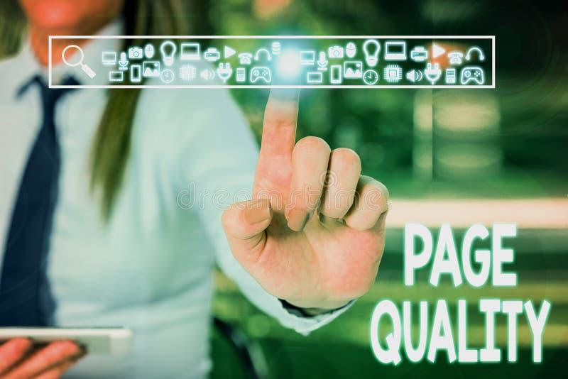 Testo scrittura grafia - Qualità pagina Concetto: Efficacia di un sito web in termini di aspetto e funzione immagini stock libere da diritti
