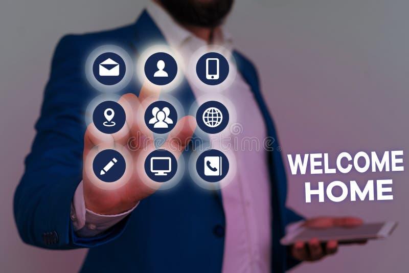 Testo scrittura Word - Home page iniziale Concetto aziendale per gli auguri per le espressioni Nuovo proprietario Domicile Doorma fotografia stock
