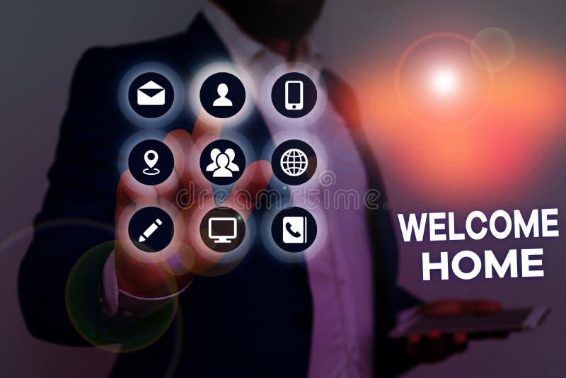 Testo scrittura Word - Home page iniziale Concetto aziendale per gli auguri per le espressioni Nuovo proprietario Domicile Doorma fotografie stock libere da diritti