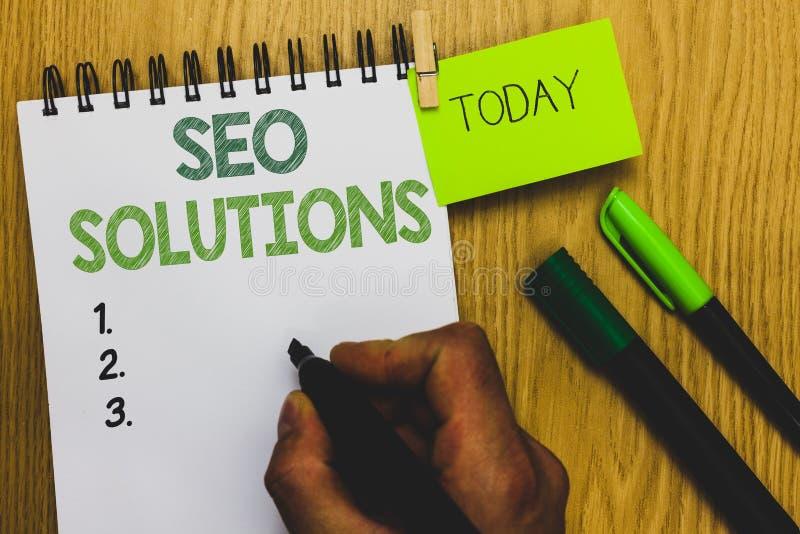 Testo Seo Solutions di scrittura di parola Il concetto di affari per gli ospiti di aumento della pagina di risultato del motore d immagine stock libera da diritti