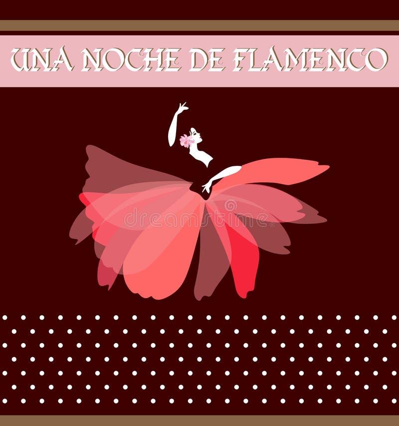 Testo spagnolo di notte di flamenco Profili di ballare la donna spagnola, vestito in una gonna sotto forma di un fiore rosso anna illustrazione vettoriale