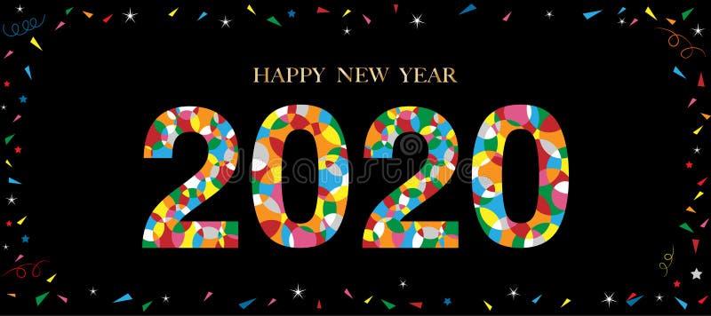 Testo tipografico 2020 e font HAPPY NEW YEAR in stile cerchio colorato sullo sfondo nero, design creativo per la Letteratura dei  illustrazione di stock