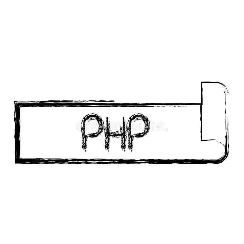 Testo vago monocromatico dell'etichetta della siluetta del PHP illustrazione vettoriale