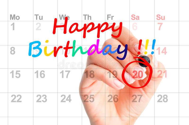 Testo variopinto di buon compleanno su un calendario immagine stock libera da diritti