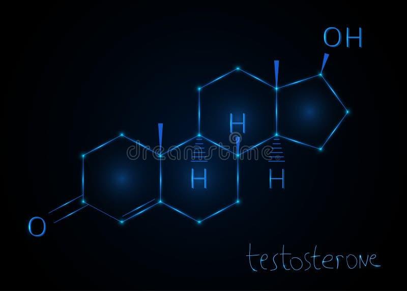 Testosterona da hormona, fórmula molecular Fundo abstrato químico Ilustração do vetor ilustração stock