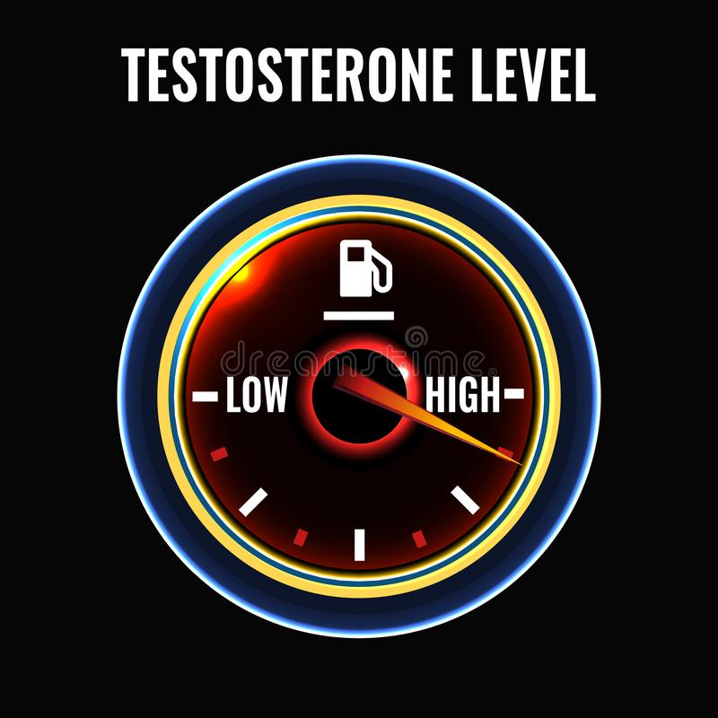 Testosterone deficiency concept. Low or high level male sex hormone production. Andropause health problem. Vector illustration in modern style isolated on a stock illustration