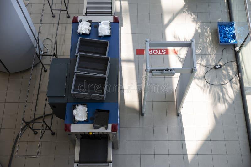Testpunkt för bagagebildläsarsäkerhet arkivbilder