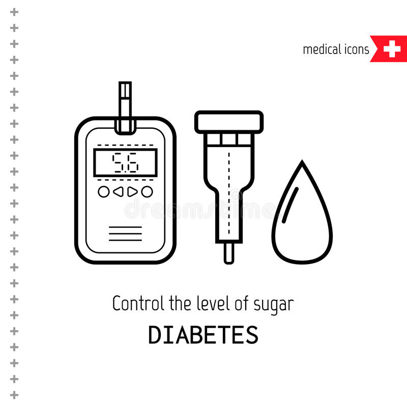 Teststroken en daling Bepalingsniveau van bloedsuiker diabetes vector illustratie