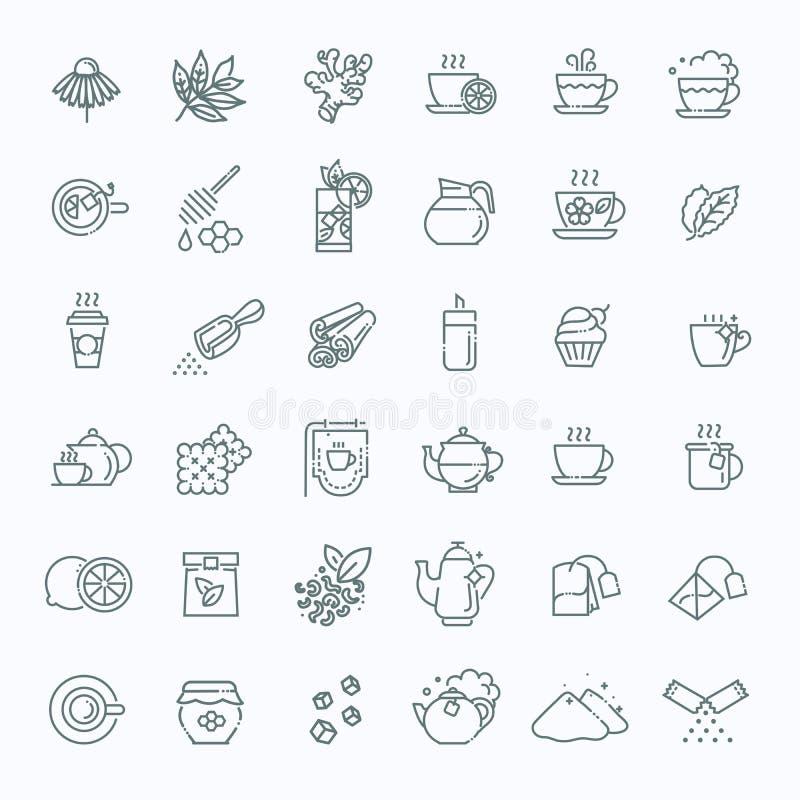 Tesymbolsuppsättning Gör linjen vektorillustration tunnare royaltyfri illustrationer