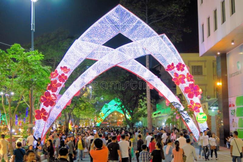 Tet nowego roku świętowanie w Sai Gon centrum miasta obraz stock