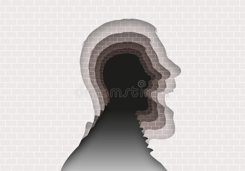 Concept of the mystery of mental illnesses with a head profile that repeats itself to infinity. vector illustration