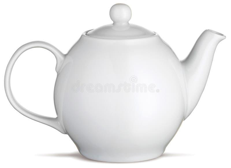 Tetera blanca del crisol del té de China en un fondo blanco fotos de archivo libres de regalías