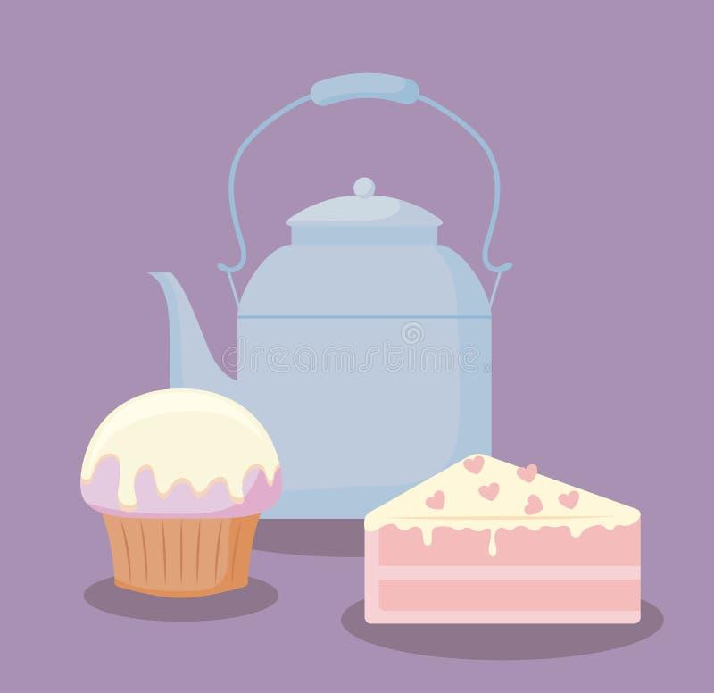 Tetera con la porción dulce de la torta libre illustration