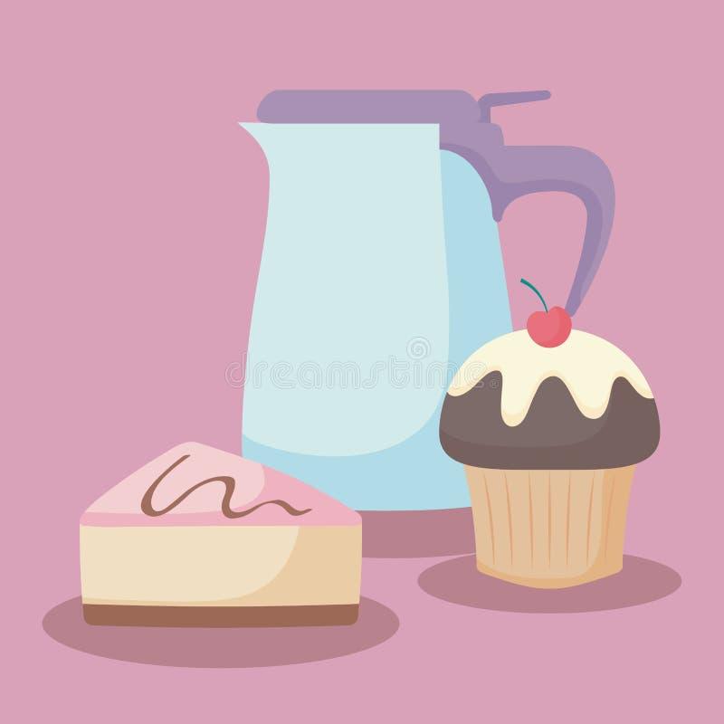 Tetera con la porción dulce de la torta ilustración del vector