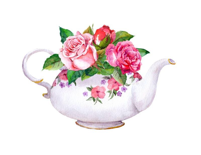 Tetera con las flores color de rosa watercolor stock de ilustración