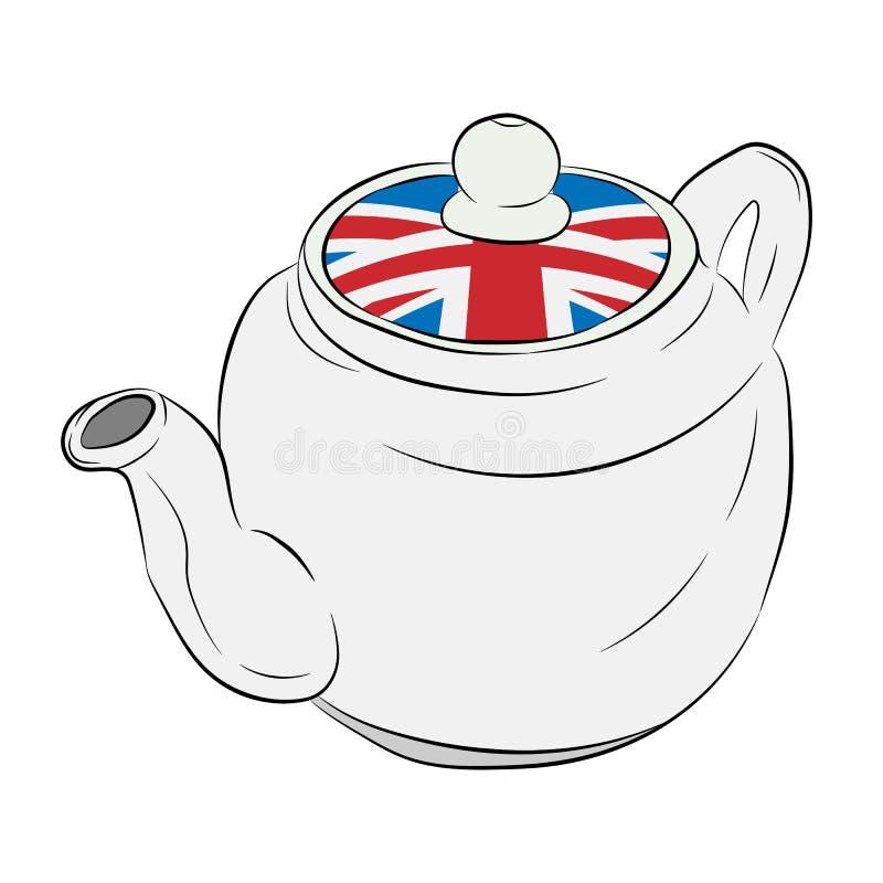 Tetera con una bandera de Gran Bretaña ilustración del vector