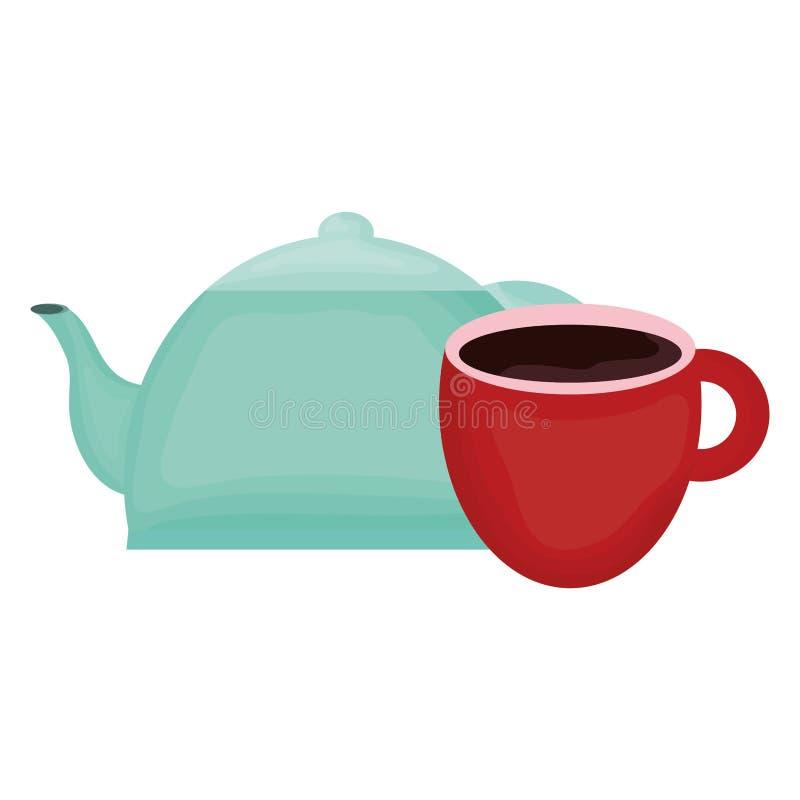 Tetera de la cocina con la taza de café ilustración del vector