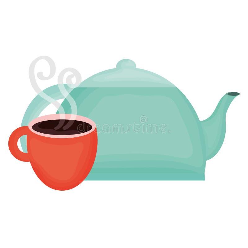 Tetera de la cocina con la taza de caf? ilustración del vector
