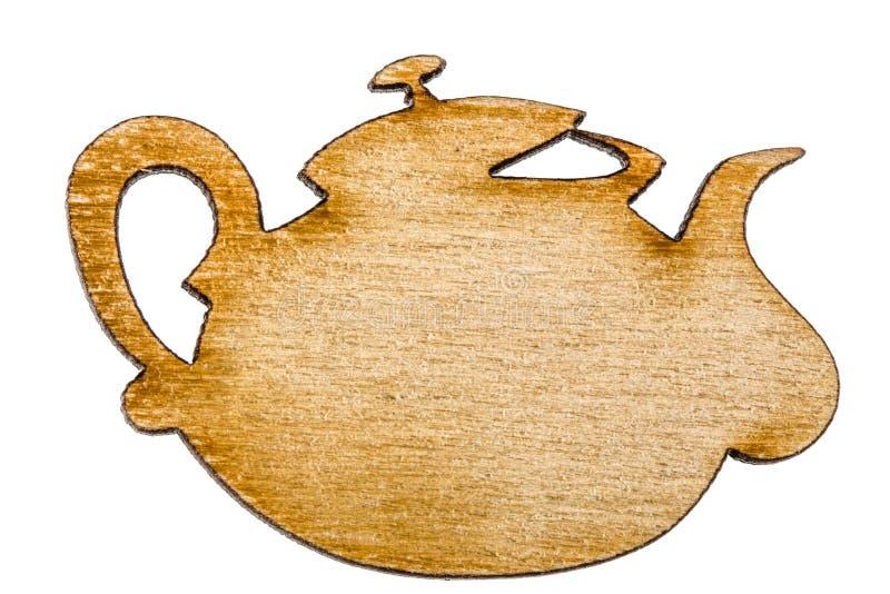 Tetera de madera, elemento decorativo del diseño, aislado en la parte posterior del blanco fotografía de archivo libre de regalías