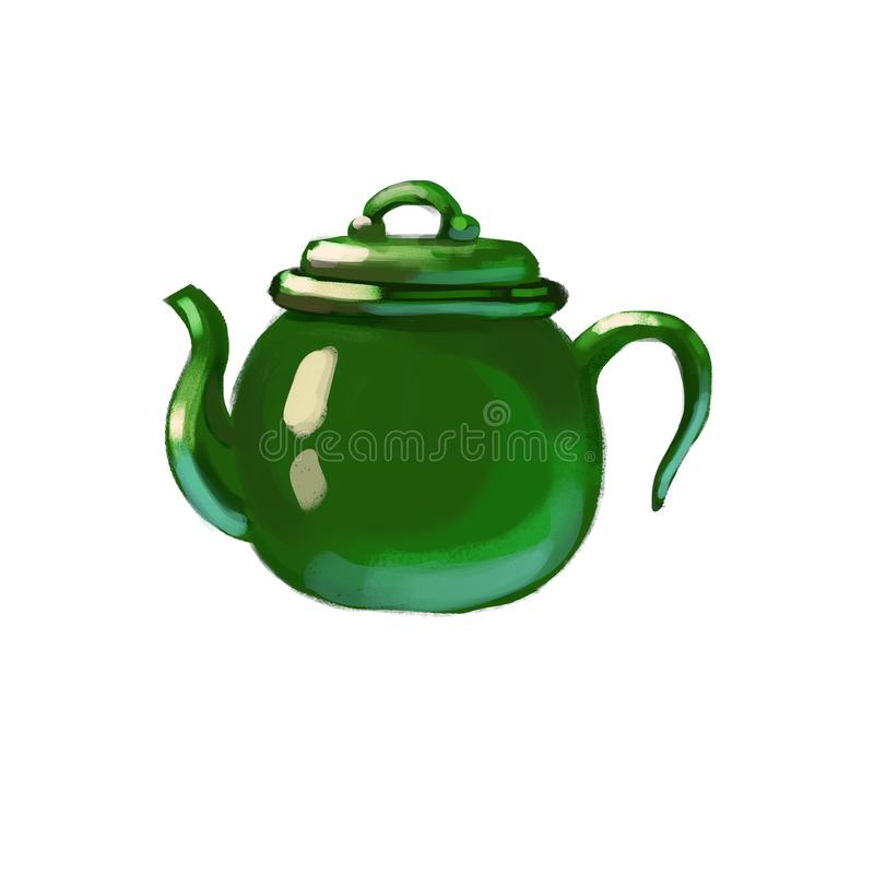 Tetera exhausta de cerámica ilustración del vector