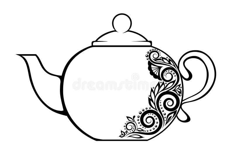 Tetera hermosa, adornada con f blanco y negro ilustración del vector
