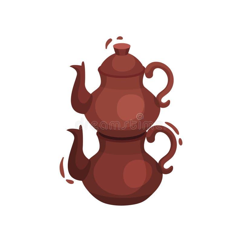 Tetera turca tradicional para el té Ilustraci?n del vector en el fondo blanco ilustración del vector