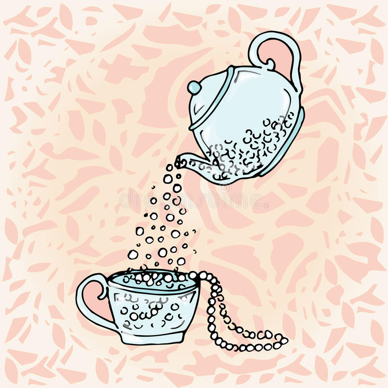 Tetera y taza del ejemplo Drenaje lindo de los niños libre illustration