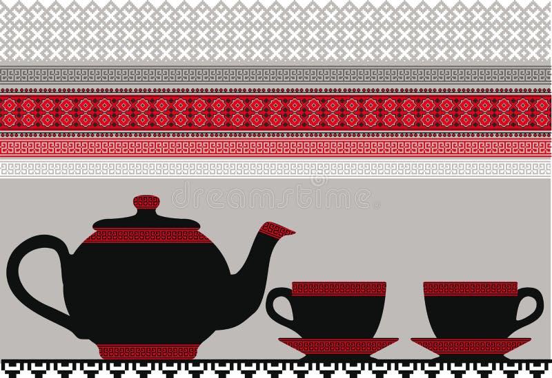 Tetera y tazas. ilustración del vector
