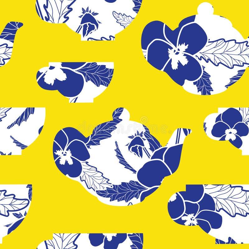 Tetera y tazas del vector con el modelo azul real del pensamiento en fondo amarillo Modelo inconsútil de la repetición floral del libre illustration