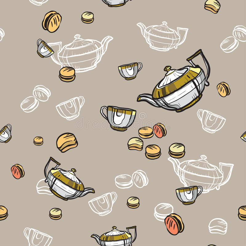 Teteras, tazas y mano inconsútil del modelo de los macarons dibujada en viejo estilo Ejemplo del vector del tiempo del t? Modelo  ilustración del vector
