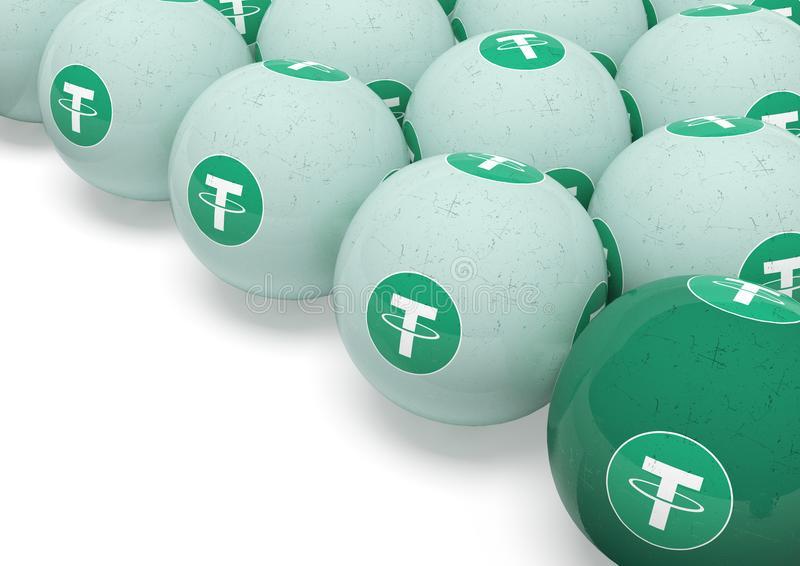 Tether. Billiard balls with the image of cryptocurrency. The game of billiards in the cryptocurrency. 3d rendering. Isolated royalty free illustration