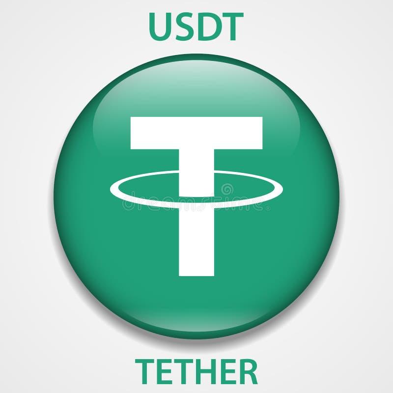Tether cryptocurrency blockchain icon. Virtual electronic, internet money or cryptocoin symbol, logo.  stock illustration