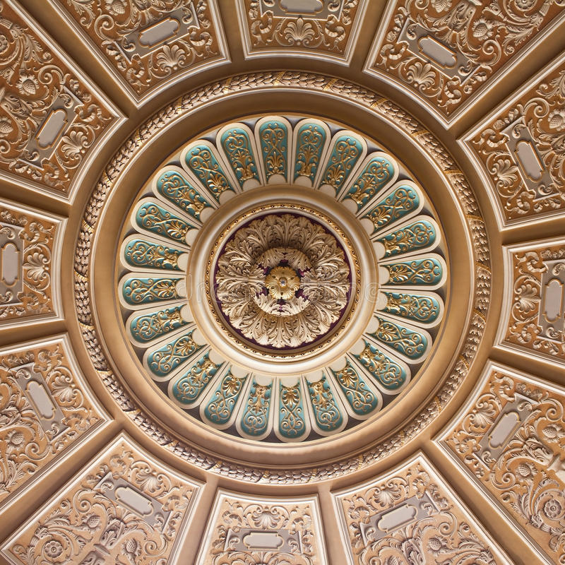 Teto decorado do palácio fotografia de stock royalty free