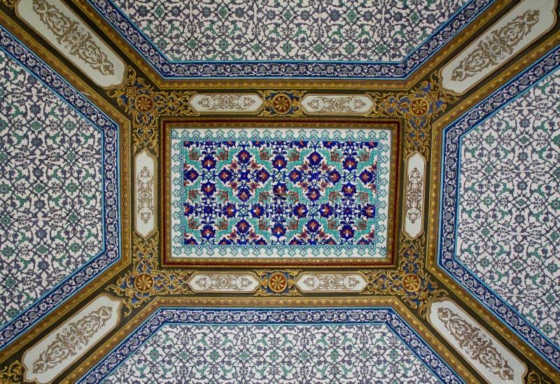 Teto do Arabesque do palácio de Topkapi imagem de stock
