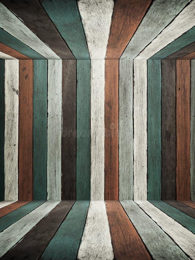 Teto e assoalho de madeira velhos da parede do tom azul fotos de stock royalty free