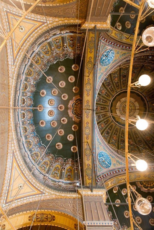 Teto na mesquita de Muhammad Ali fotos de stock