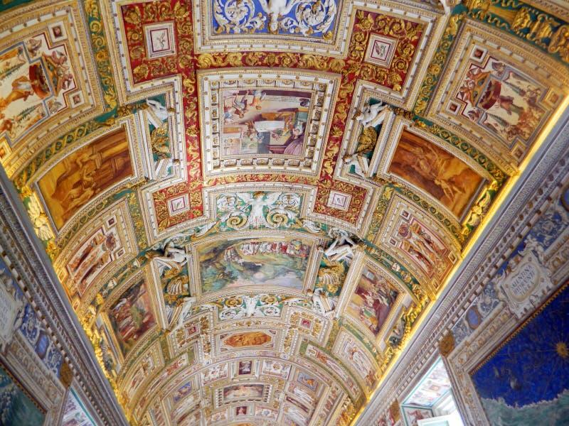 Teto no museu do Vaticano, Roma, Itália fotografia de stock