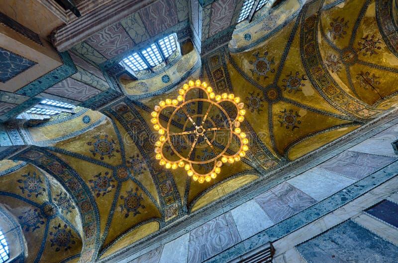 Teto um corredor na mesquita de Sófia do aya de Istambul fotografia de stock