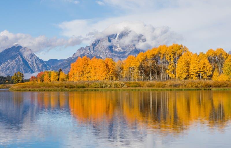 Teton Autumn Reflection Landscape image stock